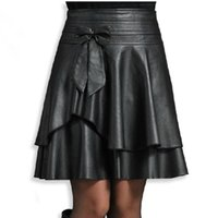 Wholesale new spring leather female short bust skirt high waist PU small leather skirt pleated skirt