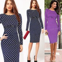 Wholesale Bodycon Pencil Dresses Women Polka Dot Long Sleeve Cocktail Maxi Dress Wear To Work Business Office LGCA178