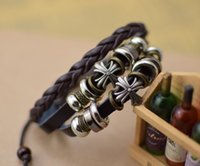 alloy metal products - new products Handmade jewelry metal cross charm bracelets beads gift Men s Leather Bracelet braided Tribal Adjustable Size