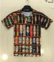 beer wear - European and American creative design dress tide personality canned beer print d short sleeve T shirt male summer wear