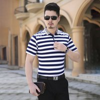 Wholesale Summer Men plus size M XL striped short sleeved POLO shirt Men good quality mercerized cotton polo shirt
