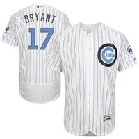 baseball strips - 2016 Father Day Stitched Fashion Chicago Cubs Summer Kris Bryant Jerseys Blue Strip Flexbase Authentic Collection Jersey