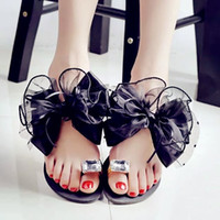 beach front homes - summer lady s Bowtie flower flat sandals sexy casual fashion female beach flip flops women mesh grey black shoes home