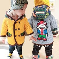bear hoodie jacket - New Autumn winter Cartoon Bear Baby Boys Girls Hoodie Tops With warm velvet coat and jackets children s clothing