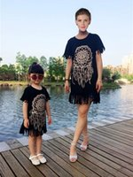 Wholesale 2016 Summer Mother Daughter Dresses Short Sleeve Matching Clothes Cotton Tassel Mom And Baby Girls Family Outfit Look Kids Clothing