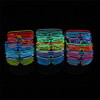 20pcs 15 COULEURS El Fil Mode Neon LED Light Up Shutter forme Glow Lunettes Rave Costume Party DJ SunGlasses flash D804