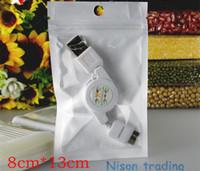 bopp film - 8 cm White translucent BOPP pearl film ziplock bag Samsung phone earphone bags reusable zipper pouch with hanging hole