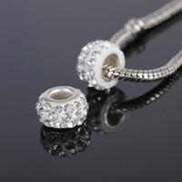 Wholesale NEW pc Jewelry Silver Bead Charm European Alloy Bead full white Crystal Fit Pandora Bracelet