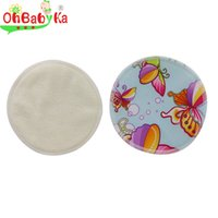 Wholesale OhBabyKa cloth diaper Reusable Nursing Pads Postpartum Brand Washable Bamboo Pads for Mum Character Print Baby Feeding Pads