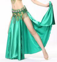 bellydance split skirt - 11 Colors Performance Women Dancewear Green Belly Dance Skirt Side Split Elastic Waist Silk Satin Skirts for Bellydance