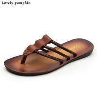 Wholesale Summer Men Fashion Cow Leather Sandals Cheap High Quality Mens Slippers Size EUR EUR