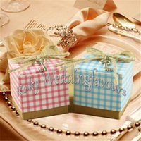 Kraft baby favor charms - quot Square Rustic Plaid Favor Boxes Baby Shower Birthday Party Events Candy Boxes with Charms and Twines
