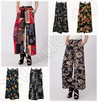 Cheap LJJJ119 New Women Floral Summer Casual Wide Leg Pants Bamboo Cotton Loose Trousers Nine Palazzo Pants 10PCS
