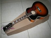 Wholesale 12 Strings guitars Sunburst Acoustic Guitar High Quality can install Pickup