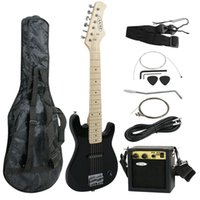 Wholesale Electric Guitar Beginners Watt Amp quot Hardwood Black Gig Bag Case String Guitar Strap