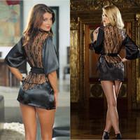Wholesale Free Size Black Sexy Lingerie Nightwear Women Sexy Underwear Ladies Sleepwear Babydoll G String Silk Fabric Dress