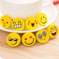Wholesale Cute Smiley Face Erasers Creative Round Yellow Eraser Diameter cm Thickness cm Student Stationery