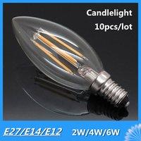 antique candles - 10pcs E27 E14 E12 Antique LED V V Retro LED Filament Lamp LED Glass Bulb Lamp W W W Candle Light