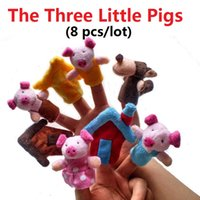baby pigs sale - 2016 Hot Sales Baby kids toys The Three Little Pigs Finger Puppets Cloth Doll Baby Educational Hand Toy cotton plush