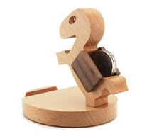 Wholesale Wooden cell phone holder degree rotation beech production support for the iphone6 S c and other mobile phone