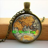 antique jewellery pictures - CRS World Map Necklace Pendant Old Antique Atlas Picture Jewellery Accessory Gift Photo Glass Dome Cabochon Necklace Pendant