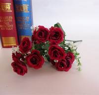 Artificial Plants artifical plants - 15 Head Bouquet Plastic Artifical Rose Wedding Office Home Decor Silk Flower New Home Decoration Wedding Event Set Wedding Party Decorations