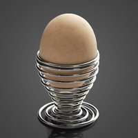 Wholesale Stainless Steel Spring Wire Tray Boiled Egg Cups Holder Stand Storage Popular