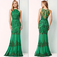 Wholesale Green Prom Gown With Couture Jewel Sleeveless See Through Back Applique Sequins Sweep Train Evening Dresses
