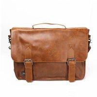 Wholesale Vintage Men s PU Leather Business Handbag Shoulder Messenger Briefcase Laptop Tote Bag Quality