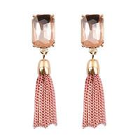 Wholesale Women s fashion long chain earringsBlack pink glass earrings chain earrings