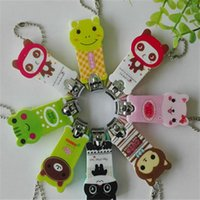 Wholesale 10Pcs Key chain nail Clippers nail scissors High quality stainless steel clipper plastic cover with lovely cartoon pattern printing