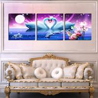 Wholesale Wall decoration Unframed Pieces Canvas Prints swan Lotus Snow white Cartoon windmill house dolphin horse Brooklyn Bridge