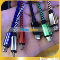 Wholesale 1M FT Micro USB Cable Fabric woven Braided cord Data Sync Charging Metal Head For Android Samsung S6 note S7 note7 High Quality M