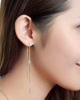Wholesale Women Fashion S925 silver Long Fine Box Chain Drop Dangle Cocktail Party Liner Earrings