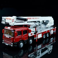aerial lift trucks - 1 Alloy Engineering Lift Up Fire Engine Vehicle Aerial Fire Truck Model Simulator Ladder Support Original Die Cast Toys