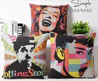 audrey hepburn pop art - Looking Back Shouting Audrey Hepburn POP Art Painting Decorative Pillow Case Cover Euro Pillows Emoji Home Decor Vintage Gift