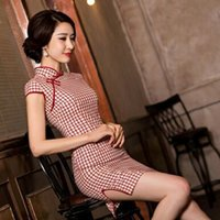 Wholesale New Summer Dress Cheongsam Cheongsam Retro Slim Cotton Short Sleeved Dress Cheongsam Improved Ethnic Clothing xxL