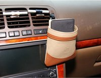 Wholesale Genuine Leather Car Air Vent Mobile Phone Holder Pocket Debris Storage Organizer Pouch Bag for home tool