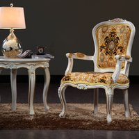 Wholesale Baroque classic solid wood arnchair European Palace furniture solid wood frame antique living room armchair