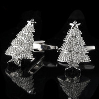 Wholesale 1 Pair Mens Cufflinks Christmas Tree French Shirt Suit Cuff Link Fashion Party Wedding Jewelry Gift With Box