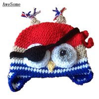 Unisex Winter Crochet Hats Super Cool Pirate Owl Hat,Handmade Knit Crochet Baby Boy Girl Animal Hat,Kids Halloween Costume,Infant Toddler Photography Prop