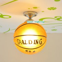 Modern basketball pendant light - E27 Led glass lamps trendy basketball ceiling lights simple glass football hanging light children room bedroom lamp kid s room Light