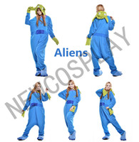 alien costume women - 2016 Unisex Adult Onesie Cosplay Costume Animal Pajamas Sleepwear Aliens Cartoon Costume Blue Men Women S M L XL NEWCOSPLAY