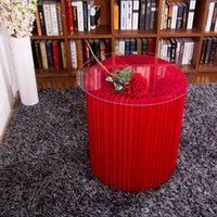 Wholesale H63xDia56cm Innovative Furniture Pop Small Table Round Indoor Tea Table Waterproof Accordion Style Kraft Foldable Negotiating Table Red