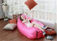 Wholesale 2016 Hot Sale Fast Inflatable Camping Sofa Banana Sleeping Lazy Chair Bag Polyester Oxford Hangout Air Beach Bed Chair Couch