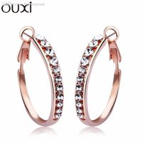 best discount coupons - Best Quality Big Coupon Discount Crystal Earrings for Women Jewelry Brincos White Gold Plated Hoop Earrings OUXI ERA103