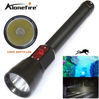 Wholesale DV16 Underwater m Diving Flashlight Lumens CREE XHP70 LED Scuba Flashlight Diver Torch Light Mode for x battery