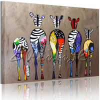 Wholesale Zebra Pop Art Oil paintings canvas Hand painted Andy Warhol Wall Art Pictures Animals Cuadros Home Decoracion For Living Room