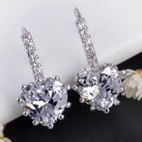 Wholesale Wedding CZ Diamond Sapphire Jewelry Stud Earrings Blue Crystal Earring For Women Blue Stones Ear Clips Cuff Aretes De Mujer