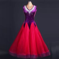 ballroom standard - Custom Rhinestone Ballroom Dance Dress Lady Dress Rose Purple Ballroom Standard Dance Women Viennese Waltz Dress Dancewear Dance Dress